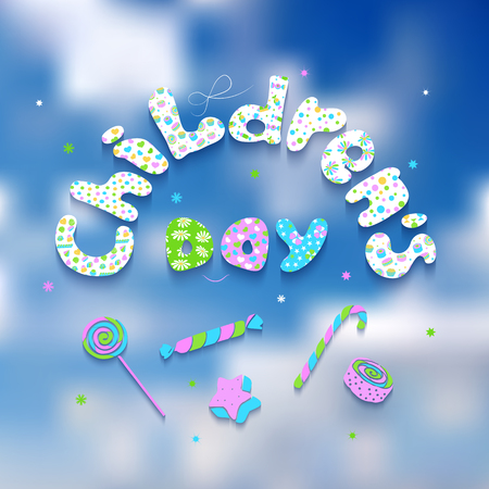 comfits: Greeting card with congratulation text on a sky background. Letters with a different pattern of sweets, stars, hearts, circles. Pink, green, white and blue letters.