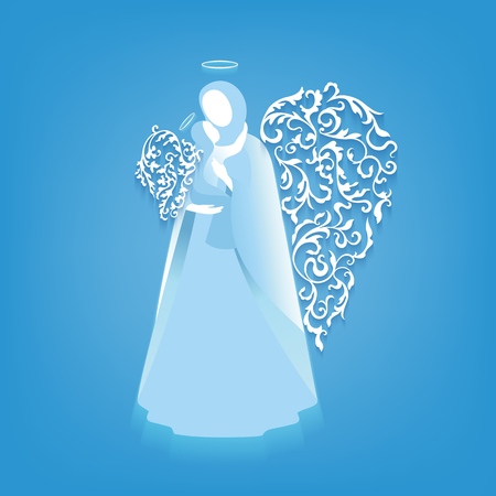 nimbus: Angel silhouettes of mother and child with ornamental floral white wings and glowing nimbus on a blue background.  Beautiful applique. Abstract design. Illustration