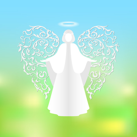 Angel with ornamental floral white wings and glowing nimbus on a green background.  Beautiful applique. Abstract design.