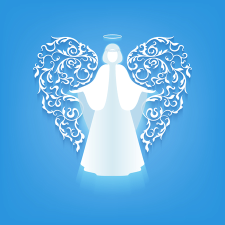 single story: Angel with ornamental floral white wings and glowing nimbus on a blue background.  Beautiful applique. Abstract design.