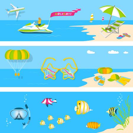 Set Sommerferien Bilder. Erholung am Meer, Kinderferien am Strand, Tauchen. Sommerzeit in Strand Meer mit Objekten. Vektor-Illustration. Sommerzeit reisen Vorlage mit Strand Sommer-Zubehör. Strandstuhl, Hut, Flip Flops, Parasailing