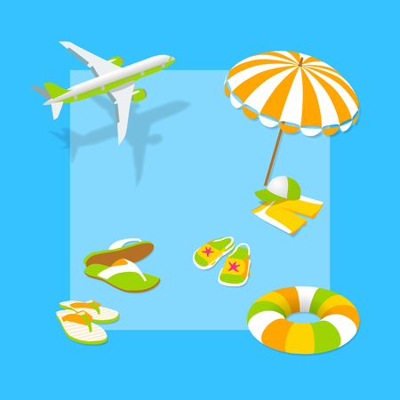 rubber ring: Vacation with children. Summertime traveling template with beach summer accessories. Beach vacation with children. The plane, parasol, rubber ring, shorts, hat, flip flops. Vector beach accessories on a blue background. Vector Illustration. Illustration