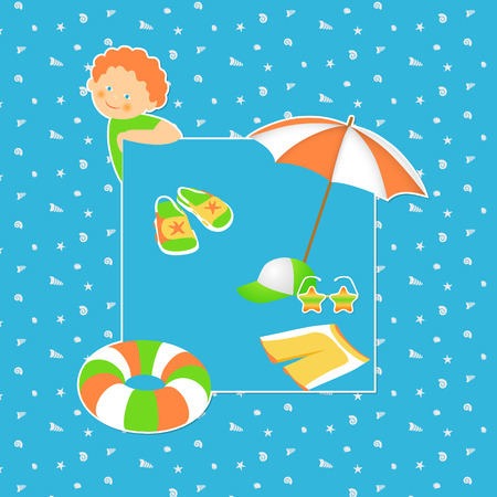 heals: Beach vacation with children. Vector beach accessories on a blue background. Vector Illustration.