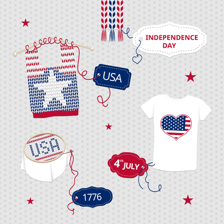 knitwear: Red, blue symbols of Independence Day on knitwear, T-shirt applique, embroidery usa.