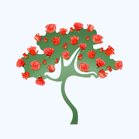 rose tree: Abstract green tree with red buds of roses on a light background. Extraordinary rose tree.