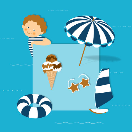 heals: Beach vacation with children. Vector beach accessories on a blue background. Ice cream, sunglasses, beach umbrella, rubber ring, boat, boy. Vector Illustration.