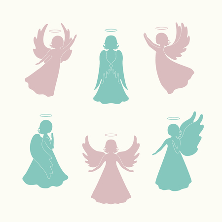 nimbus: Angels with simple wings and nimbus on a light background. Beautiful applique. Abstract design. Pink and green silhouettes. Isolated angel figurines. Illustration