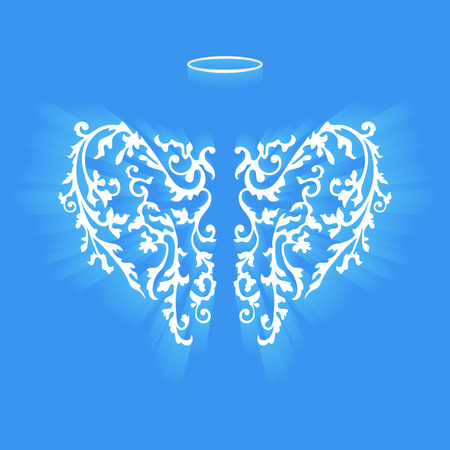 halo: Angel design elements - wings and halo isolated on the blue background. Abstract vector illustration of ornamental elegant angel wings.