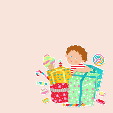 comfits: Greeting card with boy and gifts on a light background. Vector illustration with place for congratulation for any kind of celebration.
