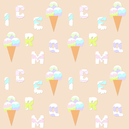 waffle cone: Letters and ice cream in a waffle cone pattern. Pink, green, blue, violet ice-cream balls. Illustration