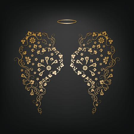 Angel design elements - gouden vleugels en halo die op de zwarte achtergrond. Abstract vector illustratie van sier elegante engelenvleugels. Stock Illustratie