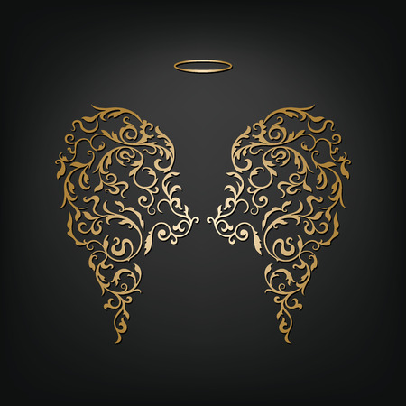 Angel design elements - golden wings and halo isolated on the black background. Abstract vector illustration of ornamental elegant angel wings.