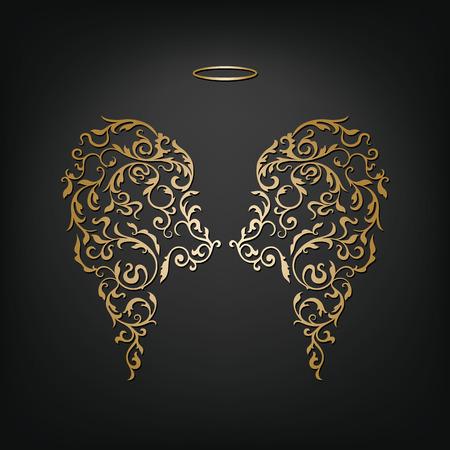 Ange design elements - ailes d'or et un halo isolé sur le fond noir. Abstract illustration de vecteur d'ornement ailes d'ange élégant. Vecteurs