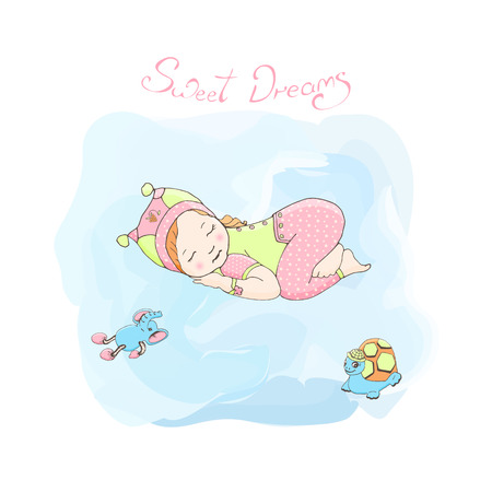 sleeping girl: Sleeping girl with toys. Poster little girl. Sweet dreams card. little kid in green pajamas and a pink hat with a teddy tortoise and elephant. Illustration