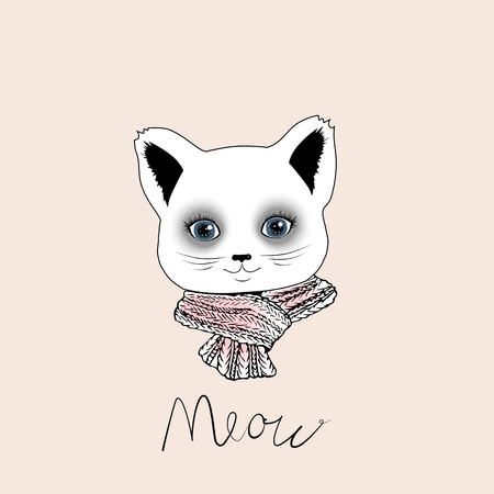muzzle: Nice muzzle cat on a beige background with pink scarf