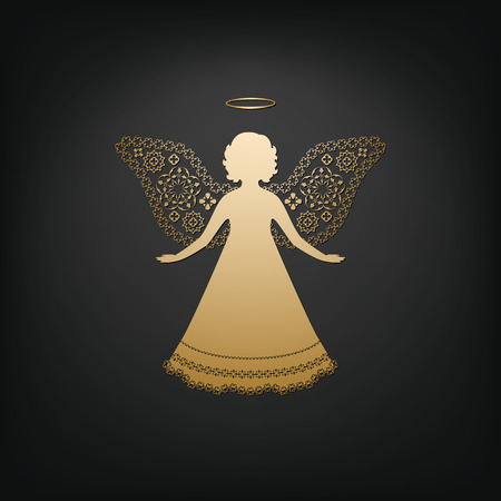 dark angel: Golden angel on a dark background. Beautiful applique. Abstract design. Isolated vector objects.