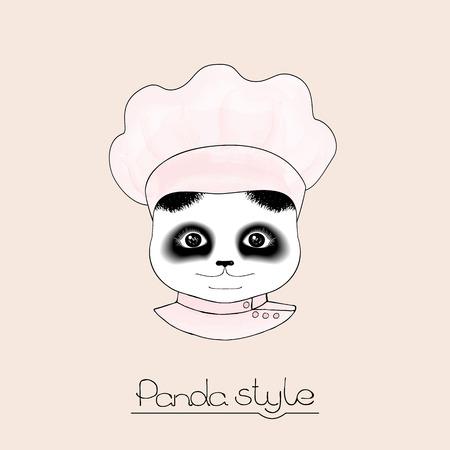 pink cap: Panda Chef in pink cap on a beige background.