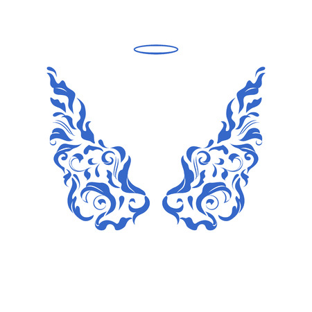 Abstract pattern flourish wings. Blue drawings on a white. Angels Wings for templates. Design element. Isolated vector objects. Stylish pattern. Vettoriali