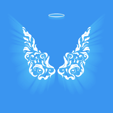 in monastery: Angel design elements - wings and halo isolated on the blue background. Abstract vector illustration of ornamental elegant angel wings.