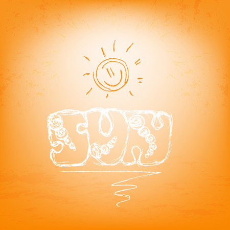 golden dusk: Abstract summer card. White letters and orange sun. Vector illustration in trendy hand drawn doodle style. Illustration