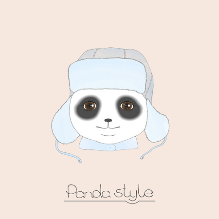 brown eyes: Stylish smiling panda in a blue winter hat with earflaps on a beige background. Cute Panda with brown eyes. Hand drawing. Watercolor effects.