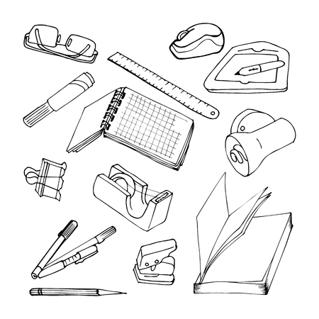 paper punch: Set of stationery and school items in the style of hand-drawing. Black contour on a white background. Office accessories - pens, notebook, book, tape, clip, marker. Sketch style.
