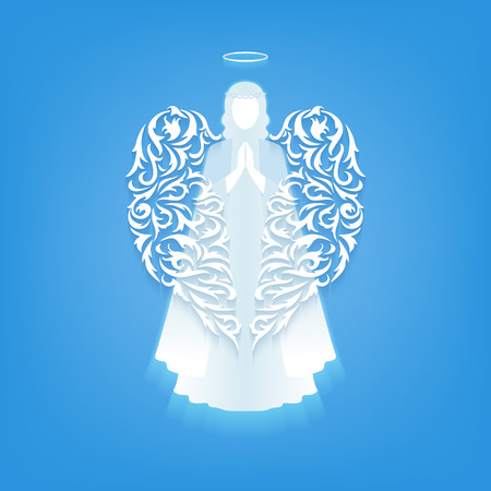 Praying angel with ornamental white wings and glowing nimbus on a blue background. Beautiful angel silhouette with folded delicate wings. Angel soaring in the sky. Postcard to a religious holiday.