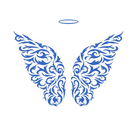 Fantasie floreren vleugels. Blauwe vector decoratieve ornament op een witte. Engelen vleugels design element. Geïsoleerde vector objecten. Modieus patroon.