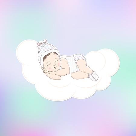 Kind in weißen Pyjamas, Socken und Hut schläft auf einer Wolke. Platz für Glückwunsch an Urlaub. Nizza Hintergrund mit Farbverlauf. Handzeichnung.