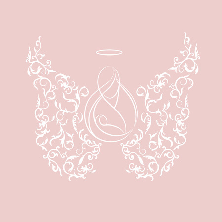 assumption: Angel silhouettes of mother and child with ornamental floral white wings and glowing nimbus on a pink background. Beautiful applique. Abstract design. The Assumption of Mary