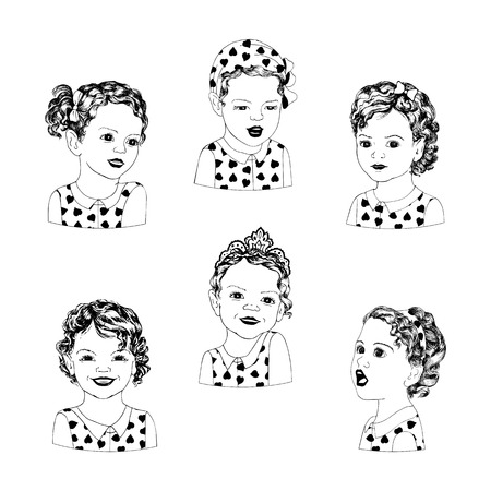 white heart: Sweet little girls with different emotions in a pop art style. Set of six girls in various poses and emotions. Retro American style pop art kids.