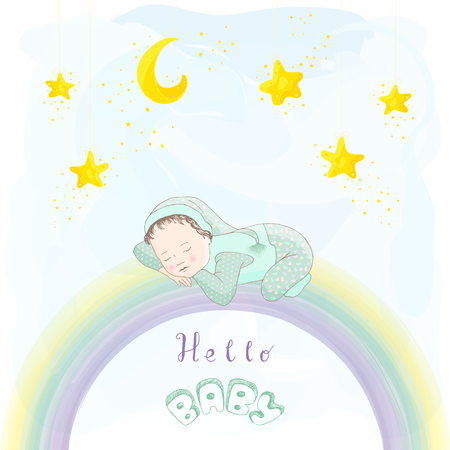 moon angels: Child in green pajamas, socks and hat sleeping on a rainbow. Hello baby card. Gold star and crescent on a blue watercolor background. Hand drawing.