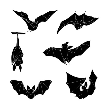 stance: Set of cartoon black bat in different stance on a white background. Hand drawing. Design elements.