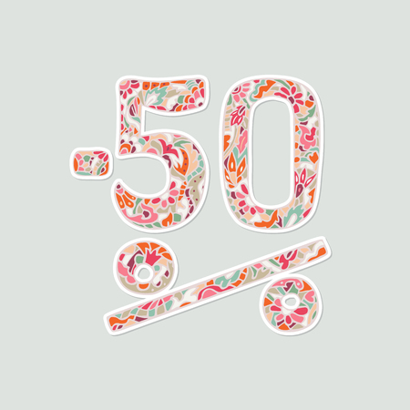 Sale shopping background for business promotion. Minus fifty percent text in hand-drawing style for your design.