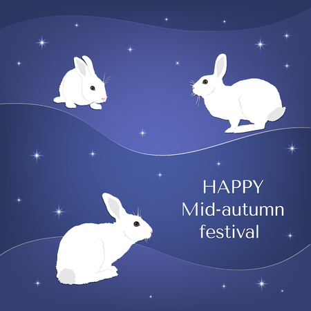 Mid autumn festival design with rabbits and stars. White rabbit on a dark blue background.