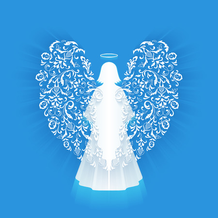 nimbus: Praying angel with ornamental white wings and glowing nimbus on a blue background. Beautiful angel silhouette with ornamental delicate wings. Postcard to a religious holiday.