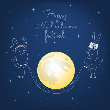 Medio herfstfestivalontwerp met konijnen en sterren. Wit konijn op een donkerblauwe achtergrond. Geschilderd gekrabbel konijn met een water geven.