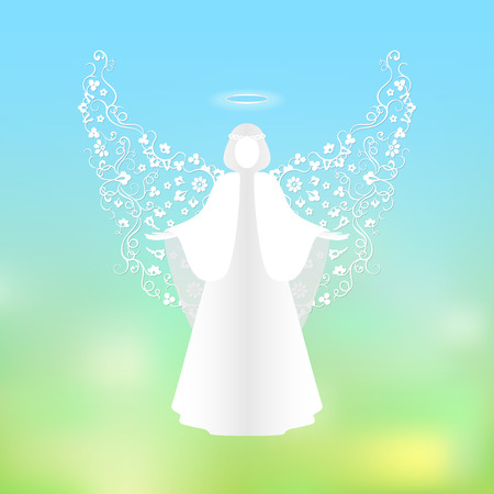 welcoming: Soaring angel with ornamental white wings and glowing nimbus. The praying white angel on a background of sky and green abstract background. Postcard to a religious holiday. Illustration