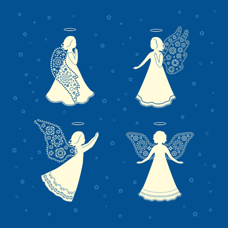 nimbus: Available in high resolution and several sizes to fit the needs of your project. Angels with ornamental floral wings and nimbus on a dark blue background.