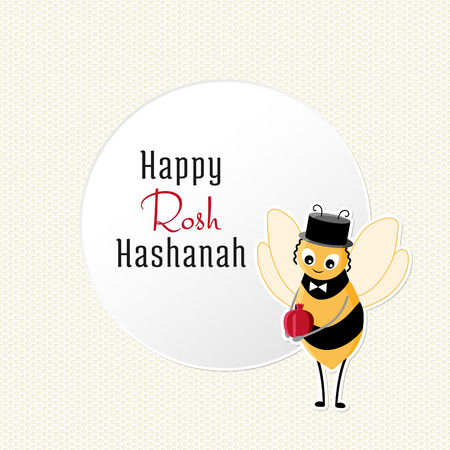 garnet: Rosh Hashanah congratulations text and cartoon bee with Garnet. Jewish New Year card on light background with honeycombs and a white circle in the center with congratulation. Illustration
