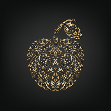 golden apple: Ornamental vintage golden apple on a dark background. Delicate apple symbol of Rosh Hashanah. Isolated silhouette