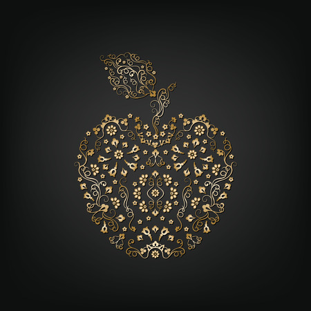 golden apple: Ornamental vintage golden apple on a dark background. Delicate apple symbol of Rosh Hashanah. Isolated silhouette