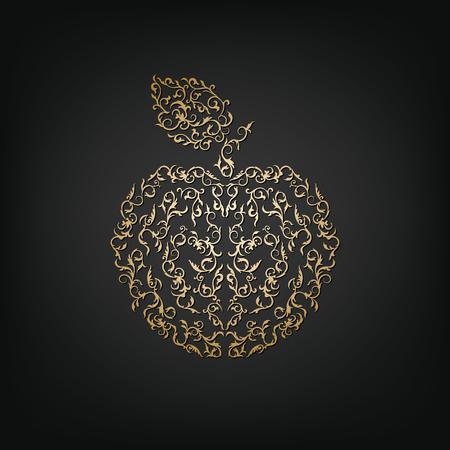 golden apple: Apple ornamental vintage golden apple on a dark background. Delicate apple symbol of Rosh Hashanah. Isolated silhouette Illustration