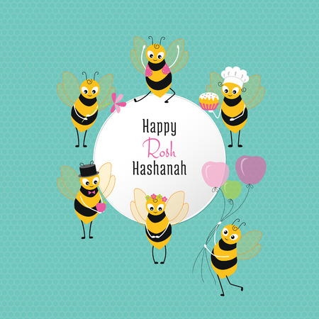 Rosh Hashanah congratulations text and cartoon bee with apple, balloons, flower, cake. Jewish New Year card on cyan background with honeycombs and a white circle in the center with congratulation.