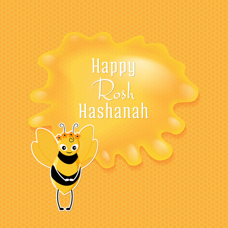 Rosh Hashanah congratulations text and cartoon bee with wreath. Jewish New Year card on yellow background with honeycombs and honey drop in the center with congratulation.