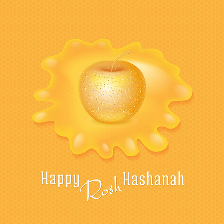 golden apple: Rosh Hashanah congratulations text honey drop and golden apple. Jewish New Year card on yellow background with honeycombs and honey drop, apple in the center.