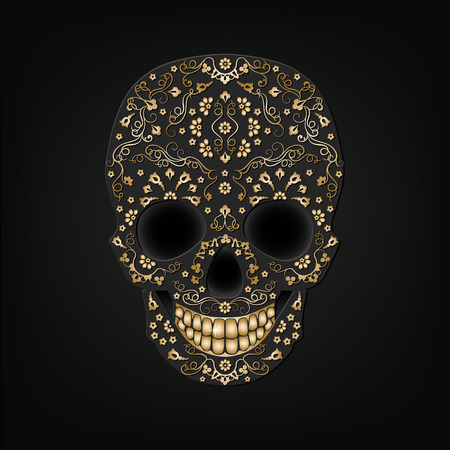 Day of the Dead skull with floral golden ornament on a black background. Dia de Muertos.