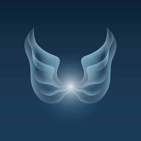 Abstract wings. Blue angels wings on a dark blue background. Luminosity vector lines