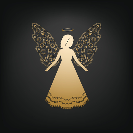 welcoming: Golden angel on a dark background. Beautiful applique. Abstract design. Isolated vector objects.