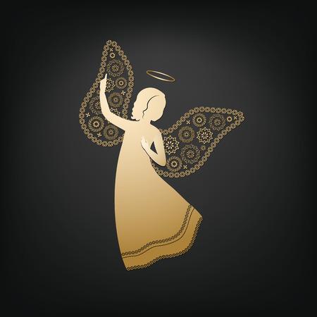 Gouden engel op een donkere achtergrond. Mooi applique. Abstract ontwerp. Geïsoleerde vectorobjecten.